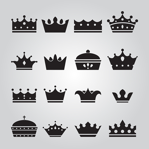 Vector crown creative silhouettes set 05 silhouettes crown