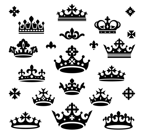 Vector crown creative silhouettes set 09 silhouettes crown