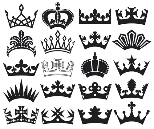 Vector crown creative silhouettes set 06 silhouettes crown