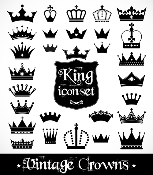 Vector crown creative silhouettes set 11 silhouettes crown