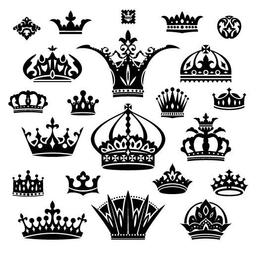 Vector crown creative silhouettes set 01 silhouettes crown creative