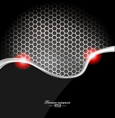 Dark style metal wave background vector set 02 style set metal dark background vector background