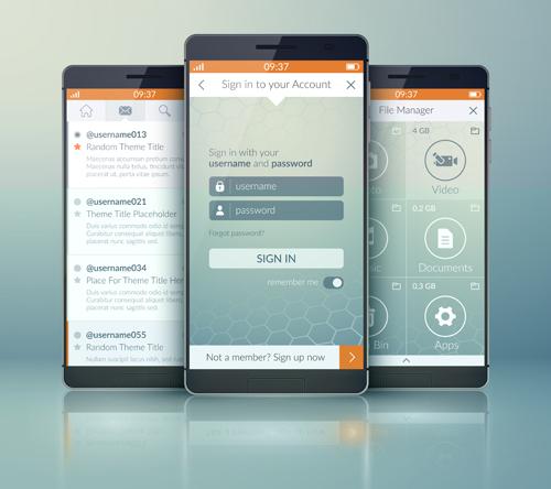 Mobile social app interface design vector 03 social mobile interface app