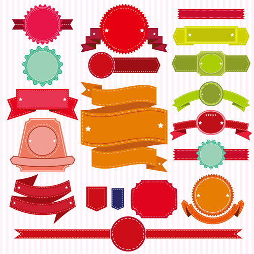 Colored ribbon banners with labels vector material 02 material labels colored banners