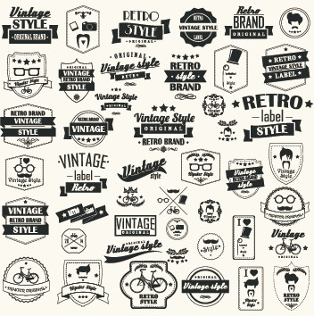 Vector set of vintage style label graphics 03 Vintage Style vintage label graphics graphic