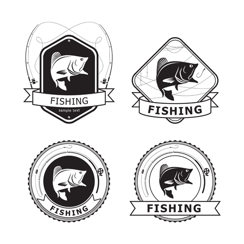 Retro fishing labels design vector material 01 Retro font material labels fishing
