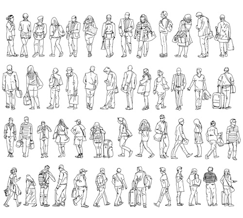 People outline silhouettes vector material 02 silhouettes people outline