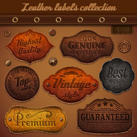 Vintage leather label vector material set 03 vintage material leather