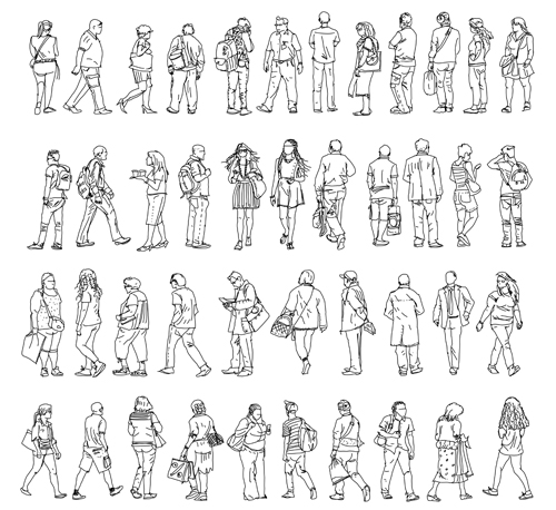 People outline silhouettes vector material 01 silhouettes people outline