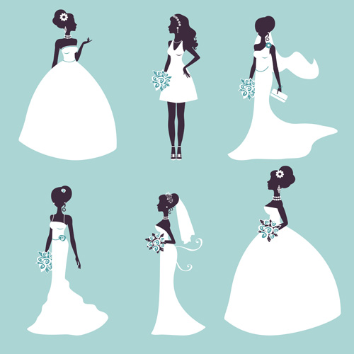 Bride and wedding silhouettes vector material wedding silhouettes bride
