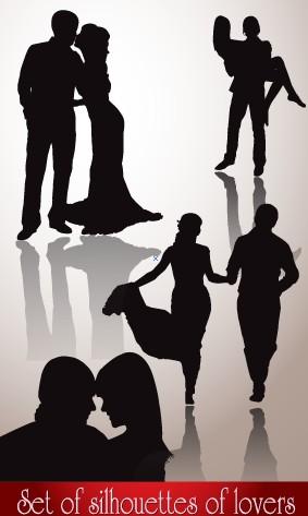 Romantic lovers silhouettes design vector silhouettes silhouette romantic roman lovers lover love