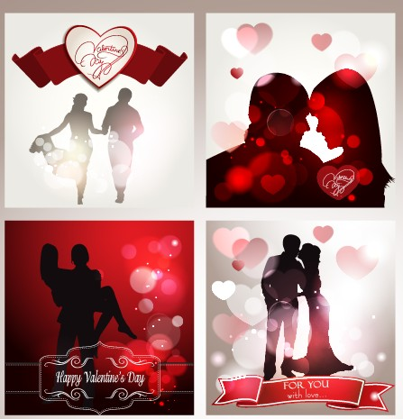 Valentine backgrounds with lovers silhouettes vector Valentine silhouettes silhouette lovers lover backgrounds background
