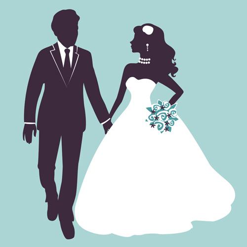 Sina with bride wedding vector silhouettes 01 wedding Sina silhouettes bride