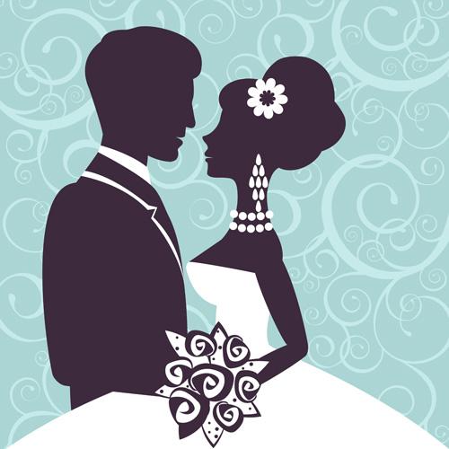 Sina with bride wedding vector silhouettes 03 wedding Sina silhouettes bride