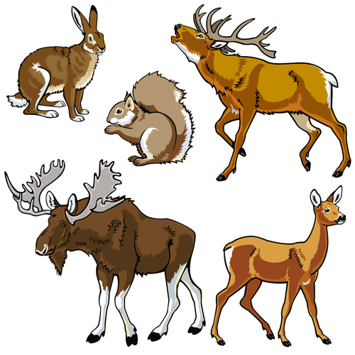 Vector set of wild animals design graphic 02 graphic animals Animal