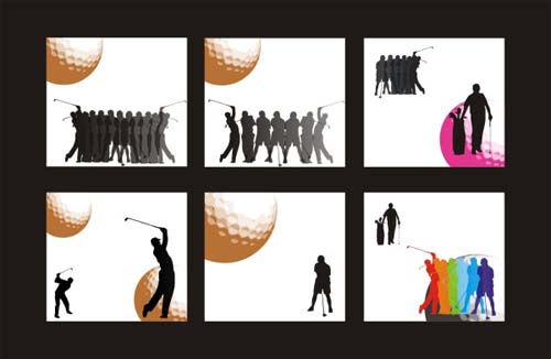 Golf figure silhouettes vector material silhouettes golf figure