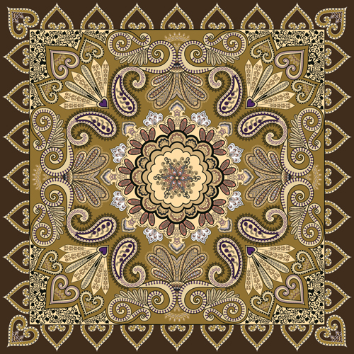 Bandanna pattern ornament design vector material 06