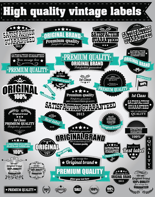 Retro Premium Quality Labels with Ribbon Vector 06 ribbon Retro font quality premium labels label