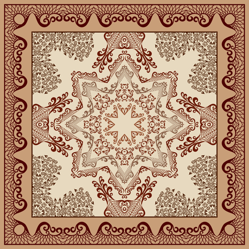 Bandanna pattern ornament design vector material 03