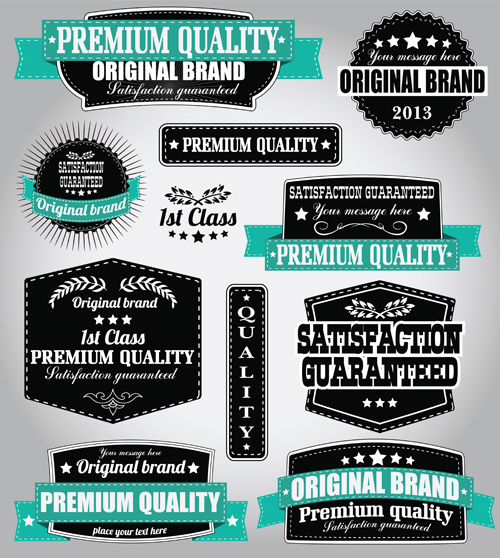 Retro Premium Quality Labels with Ribbon Vector 03 Retro font quality premium labels label height