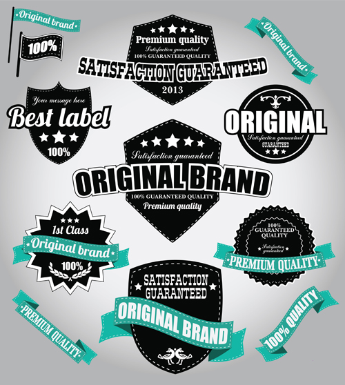 Retro Premium Quality Labels with Ribbon Vector 04 ribbon Retro font quality premium labels label