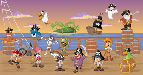 Cartoon pirate characters vector set