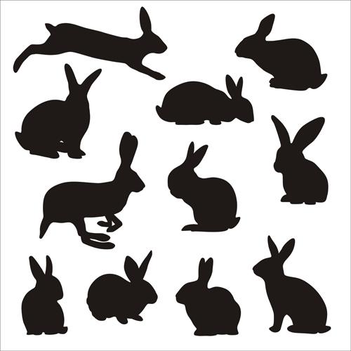 Rabbit cute silhouettes vectors vectors silhouettes silhouette rabbit free design cute