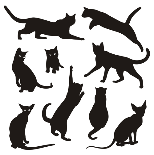 Cat silhouettes vectors set 02 silhouettes cat