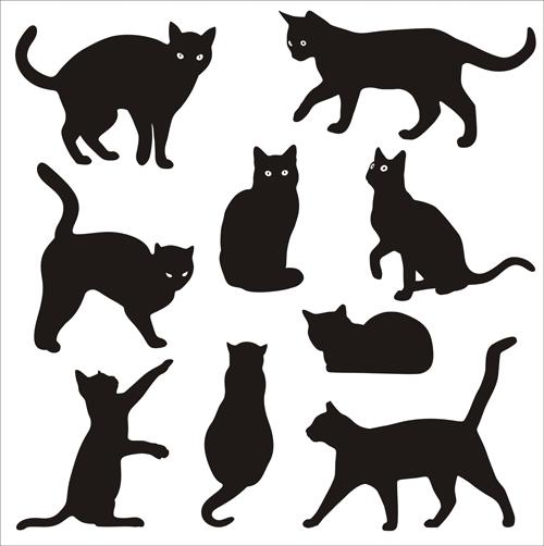 Cat silhouettes vectors set 01 silhouettes cat