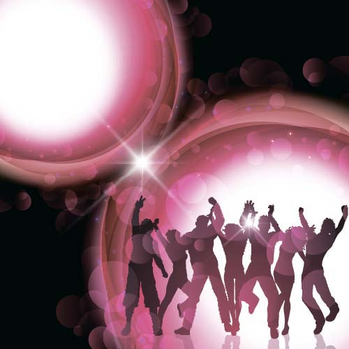 Music party backgrounds with people silhouettes vectors 09 silhouettes people party music backgrounds