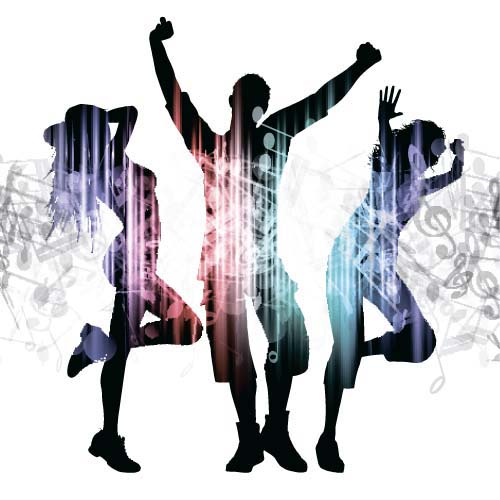 Music party backgrounds with people silhouettes vectors 10 silhouettes people party music backgrounds