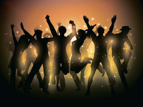 Music party backgrounds with people silhouettes vectors 05 silhouettes people party music background