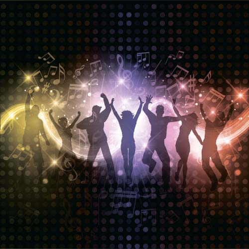 Music party backgrounds with people silhouettes vectors 08 silhouettes people party music background