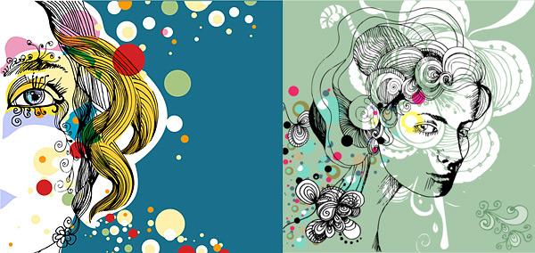 Trend of female illustrator Vector trend illustrator female