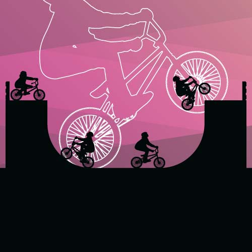 Set of extreme bikers vector silhouettes 08 silhouettes bikers