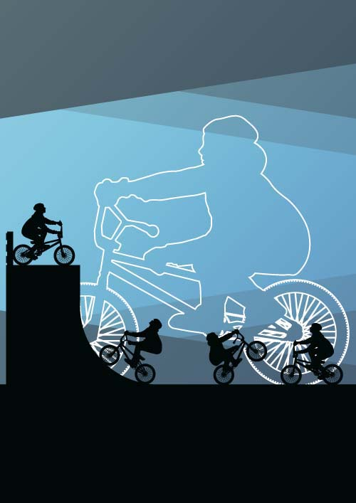 Set of extreme bikers vector silhouettes 09 silhouettes bikers
