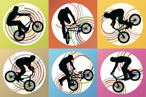 Set of extreme bikers vector silhouettes 03 silhouettes bikers