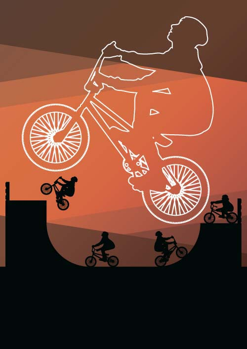 Set of extreme bikers vector silhouettes 06 silhouettes bikers