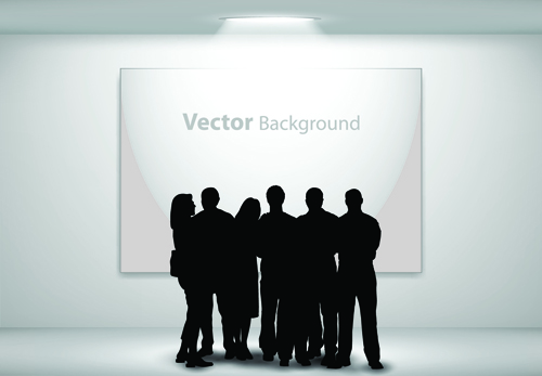 Gallery background and people silhouettes vector set 02 silhouettes silhouette people silhouettes people gallery