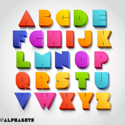 Colored 3D alphabets vectors material material colored alphabets