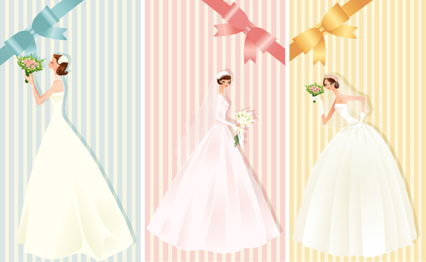 Beautiful bride with ribbon bow cards vector vector ribbon cards card bow beautiful