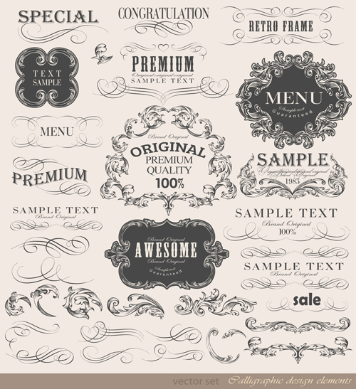 Vintage frame ornaments and calligraphic vector set vintage set ornaments ornament calligraphic