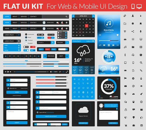 Website with mobile flat UI design vector 02 website ui mobile flat