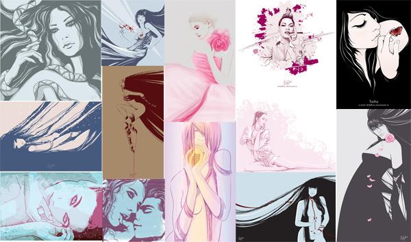 Female illustrator 01 Vector illustrator female