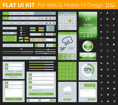 Website with mobile flat UI design vector 01 website ui mobile flat