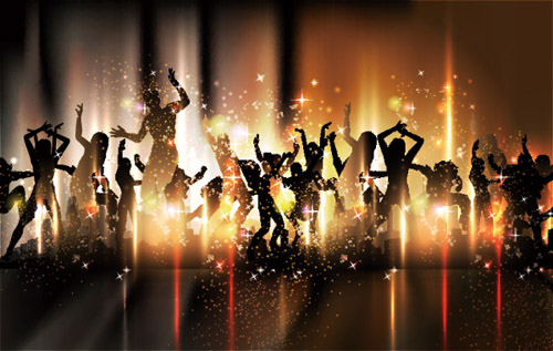 People silhouettes and party backgrounds vector 05 silhouettes people party background