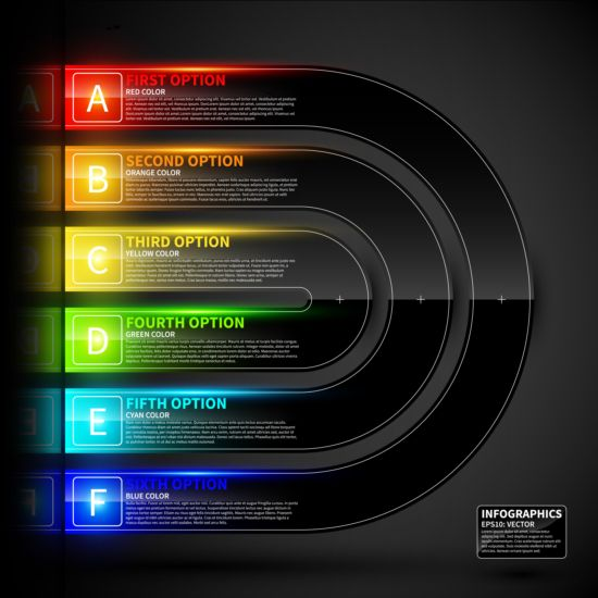 Colored neon infographic vectors 02 neon infographic colored