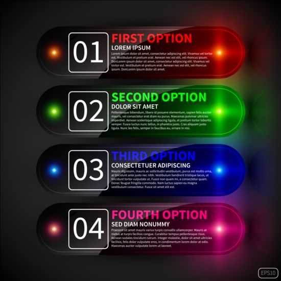 Colored neon infographic vectors 01 neon infographic colored