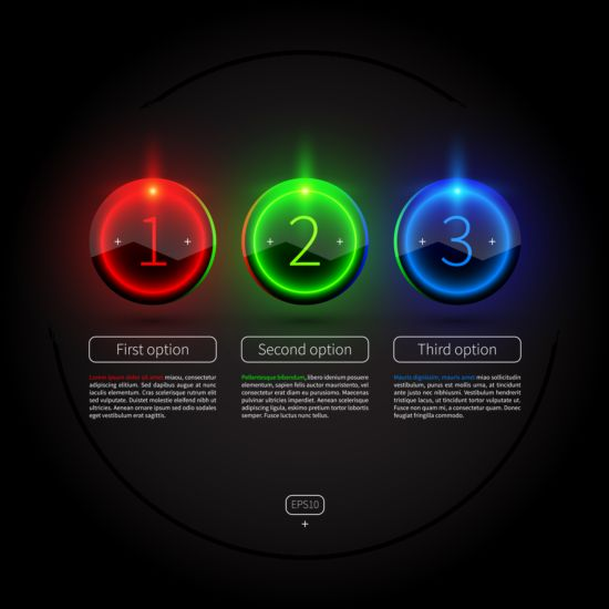 Colored neon infographic vectors 08 neon infographic colored