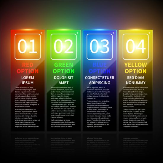Colored neon infographic vectors 05 neon infographic colored